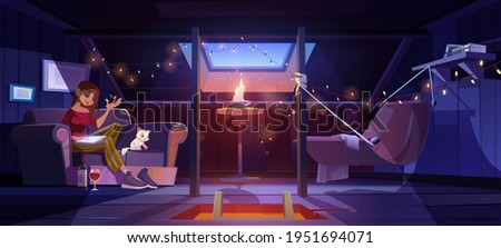 Young woman at home attic writing with wine bottle on floor at night time. Thoughtful girl compose verses or put memoirs in notebook in dark mansard room with cute cat, Cartoon vector illustration. Foto stock ©