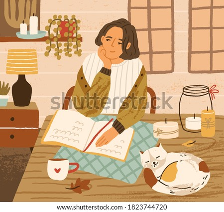Young woman at table with sleeping cat. Cozy autumnal atmosphere at home. Dreaming character in warm clothes sit in room. Scene of daydream or recreation. Flat vector illustration of homely apartment