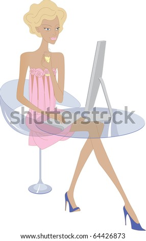 Young woman at working. Vector