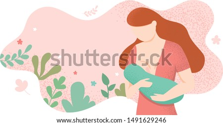 Young woman breastfeeding her newborn baby holding and nursing him in hands. Lactation concept. Breast feeding week banner, happy mother day clip art. Child drinks milk from the female breast