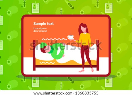 young woman bringing hot drink to her sick husband lying covered with blanket in bed at home ill man having flu virus illness concept horizontal copy space