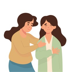 young woman calms her friend who is sad, best friend forever concept, young woman try to comfort her best friend from stress and sad, vector character illustration