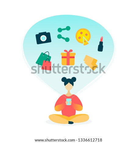 Young woman character using smartphone for online shopping. Girl buys gifts, tickets, food delivery, gadgets, cosmetics. Online shopping concept. Modern trendy style flat vector design illustration