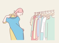 Young woman choosing blouse in the clothes shop. Hand drawn style vector design illustrations.