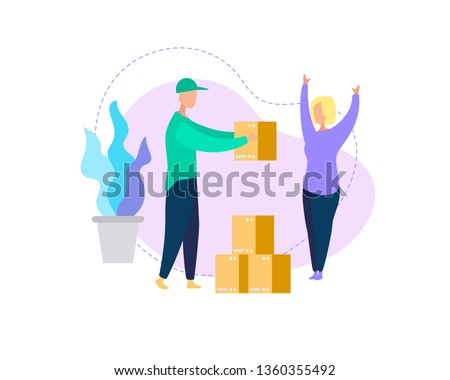 Young Woman Consumer Character Happy to Get Parcel Box from Man Courier Deliver it to Address. Shopping, Online Trading. Fast Internet Technology. Express Delivery Cartoon Flat Vector Illustration