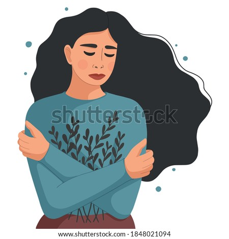 Young woman depressed. Concept of mental disorder, sorrow and depression. Physical and emotional violence against women. Vector illustration isolated on white background. Foto d'archivio ©