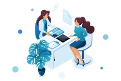 Young woman doctor advises the patient. Health care concept. 3d isometric. Concept for web design