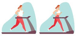 Young woman doing cardio exercise on a treadmill. A fat and slim woman. Weight loss. Healthy lifestyle. Vector illustration in hand drawn flat style