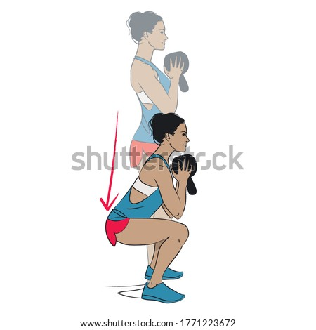 young woman doing exercise - goblet squat with kettlebell held upside down - colour vector series