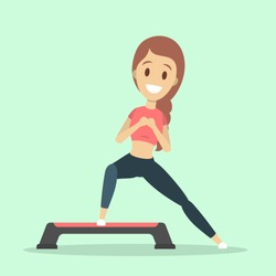 Young woman doing step exercise. Active and healthy lifestyle. Step aerobics or leg workout. Isolated flat vector illustration