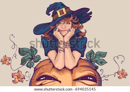 young woman dressed up in witch