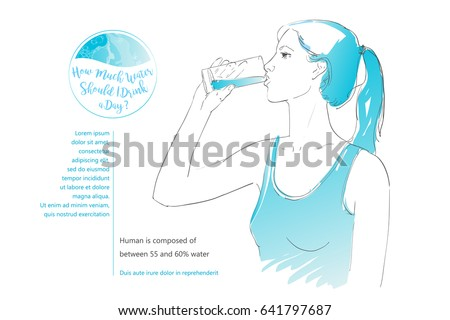 Young woman drinking glass of water. Hand-drawn vector isolated illustration