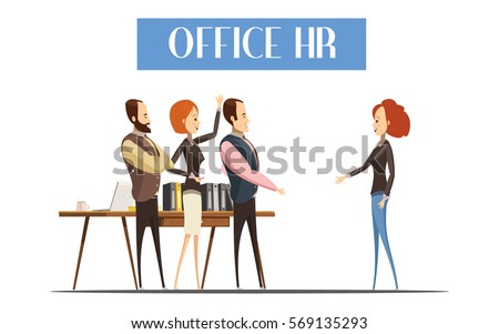 Young woman during communication with staff of office HR design in cartoon style vector illustration