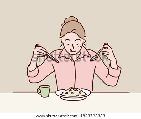 Young Woman Eating Mushroom Rice. Hand drawn style vector design illustrations.
