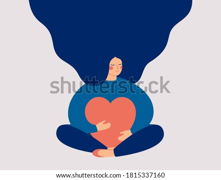 Young woman embraces a big red heart with mindfulness and love. Smiling female character sits in lotos pose with closed eyes and enjoys her freedom and life. Body positive and mental health concept.