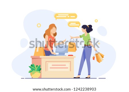 Young woman engaged in shopping and checkout her purchases. Concept girl seller, vendor, cashier with shopping bags at workplace. Vector illustration. Foto d'archivio ©