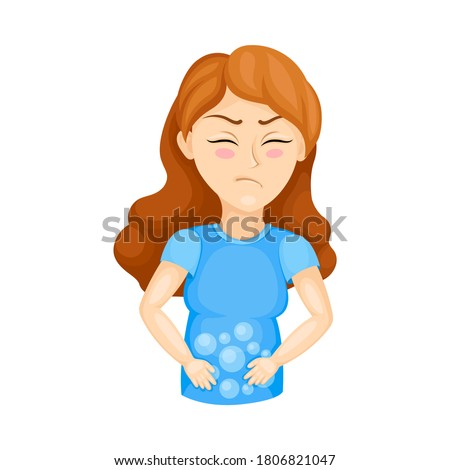 Young Woman Experiencing Flatulence or Bloat Vector Illustration Stockfoto ©