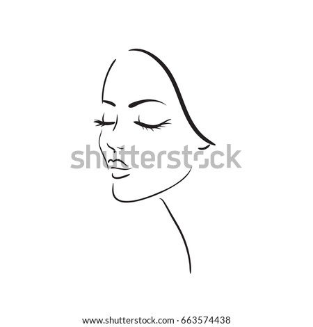 Young woman face. Beautiful girl face on a white background. Vector illustration. Glamour fashion beauty woman face illustration.
