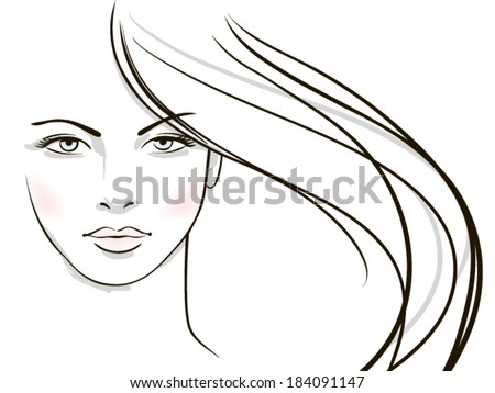 young woman face with long