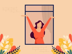 Young woman feel free opens the window shutters and breathes in the fresh air. Concept of freedom