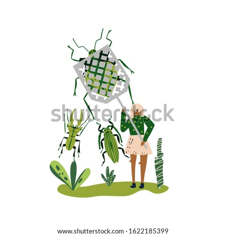 young woman fight with insect