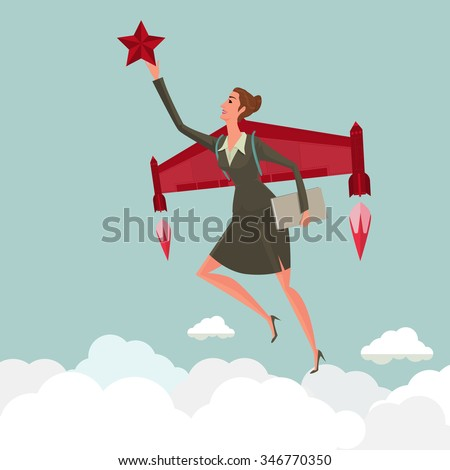 young woman flying with a