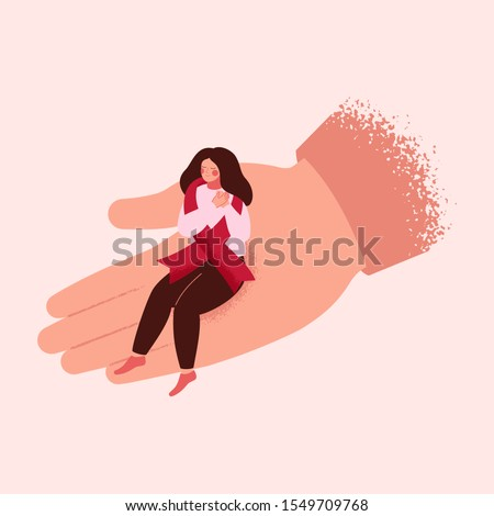 Young woman folded her arms in support for people with HIV / AIDS. Human hand helps a sick aids girl with red ribbon. Vector medical illustration