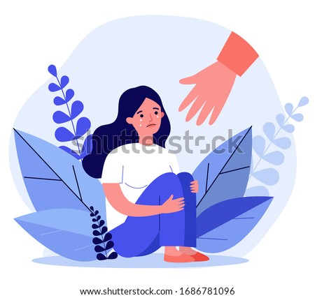 Young woman getting help and cure from stress flat vector illustration. Girl feeling anxiety and loneliness. Helping hand. Psychotherapy, counseling and psychological support concept.
