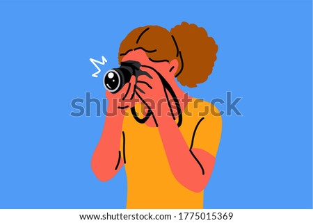 young woman girl photographer character making pgotos or taking pictures in studio. Creative hobby job profession and active lifestyle illustration. ストックフォト ©