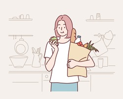Young woman grocery shopping bag with vegetables at home. Hand drawn style vector design illustrations.