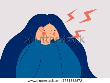 Young woman has a dreadful headache. The sad woman touches her temples with her hands and suffers from a migraine. Vector illustration