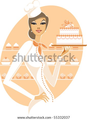 Young woman holding fancy wedding cake