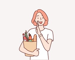 young woman holding grocery bag . Hand drawn style vector design illustrations.