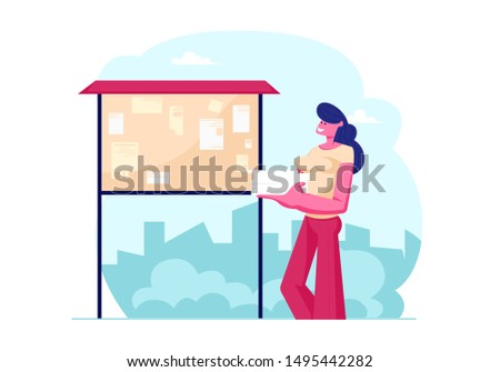 Young Woman Holding Heap of Paper Blanks Stand in front of Bulletin Board with Posted Advertising Flyers on City View Background. Side Job for Students, Marketing. Cartoon Flat Vector Illustration