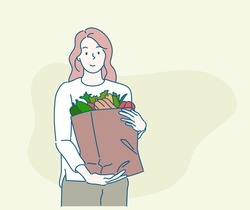 Young woman holding paper shopping bag full of fresh vegetables and smiling. Sustainable lifestyle concept. Hand drawn in thin line style, vector illustrations.