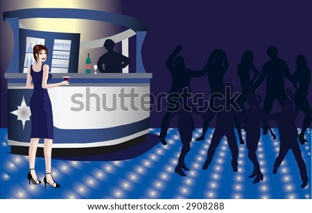 Young woman in a nightclub