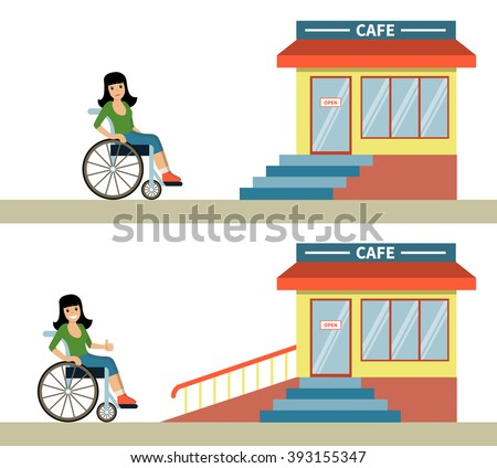 Young woman in a wheelchair in front of cafe with stairs and with wheelchair ramp. Concept for barrier free environment for physically challenged people. Vector illustration. Flat design.