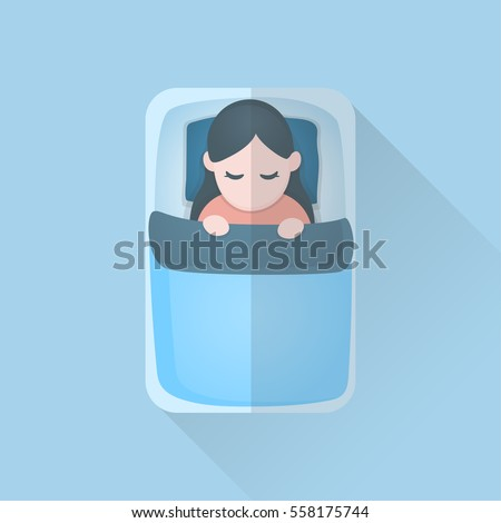 young woman in blanket sleeping