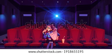 Young woman in cinema mesmerized girl with pop corn bucket in hands sitting alone in movie theater hall front of screen watching very interesting film with open mouth. Cartoon vector illustration