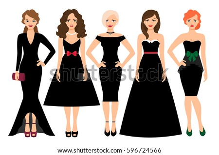 young woman in different black