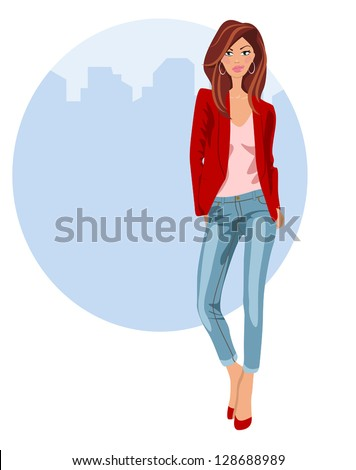 Young woman in jeans, high heels and red jacket