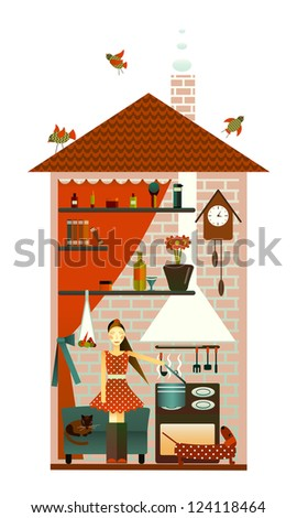 Young Woman in the Kitchen. Happy Woman at Home. Vector EPS8 illustration.