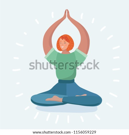 Young woman in the lotus position while meditating. Girl is doing yoga. Vector cartoon illustration in modern concept