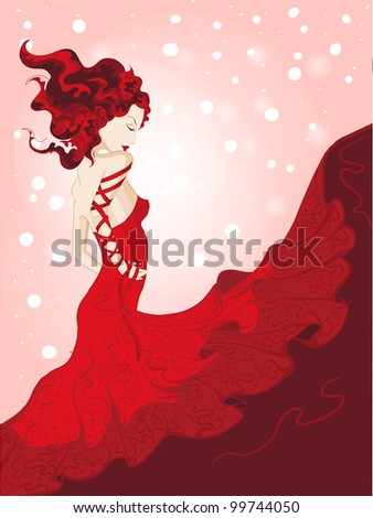young woman in waving red dress