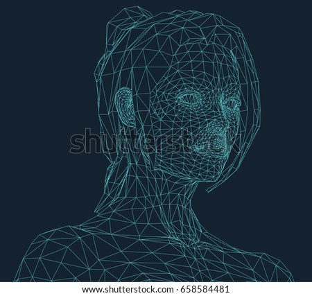 young woman in wire frame style