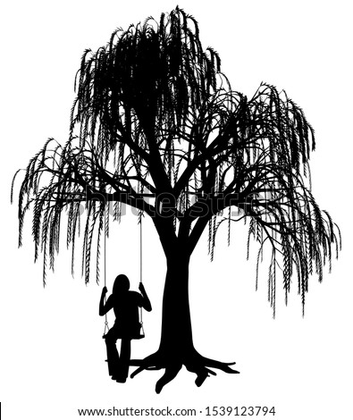Young woman is swinging on a swing under weeping willow tree Stock photo ©