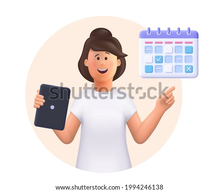 Young woman Jane holding tablet, showing plan schedule, planning day scheduling appointment in calendar application. Business planning ,events, reminder and timetable.3d vector people illustration.