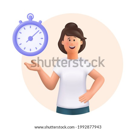 Young woman Jane standing, smiling, pointing to timer. Time set, timing, self organization, day planning, time management concept. 3d vector people character illustration.