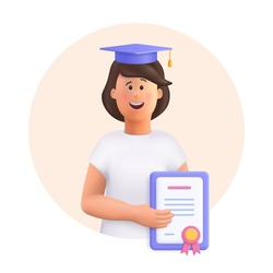 Young woman Jane - student in graduation cap and robe standing, holding diploma or certificate. Academic degree and achievements. 3d vector people character illustration.