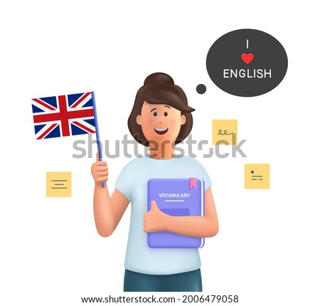 Young woman Jane studying english holding a dictionary and english flag. Learn English concept. 3d vector people character illustration.